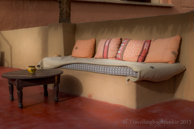 Covered Seating Area by the Pool, Kasbah Ellouze, Morocco