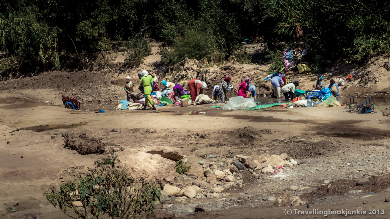 Women washing in the river morocco