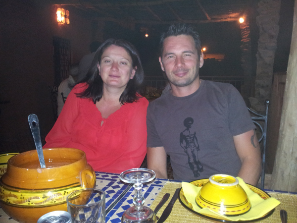 Us enjoying an evening meal at Kasbah Ellouze Morocco