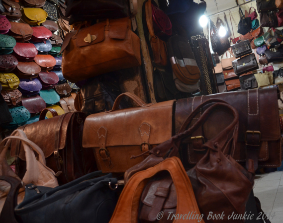 leather goods in the souks