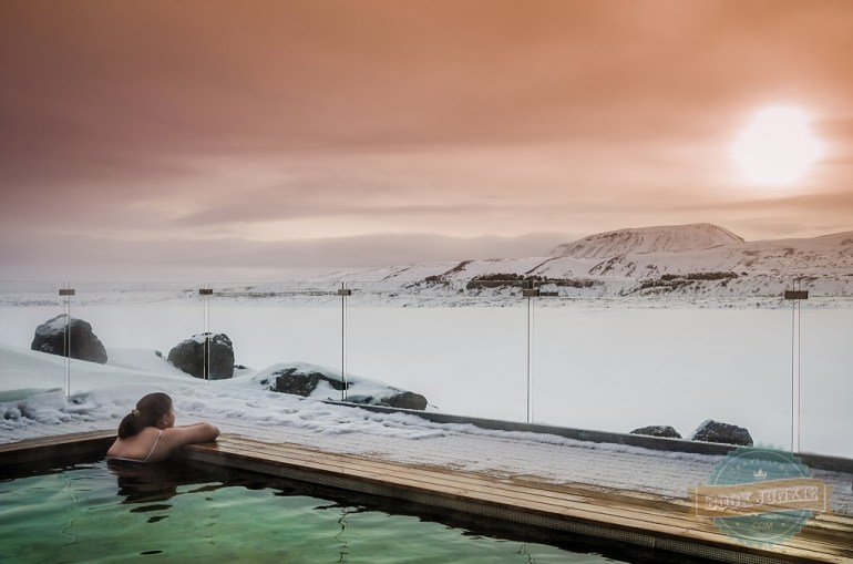 The hot tub at the ION adventure hotel in Iceland landscape snow sunset