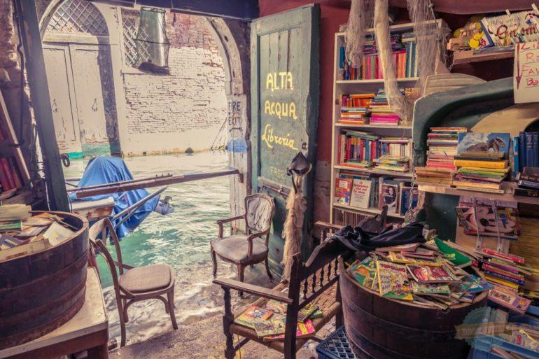Reading corner in bookshop, venice italy