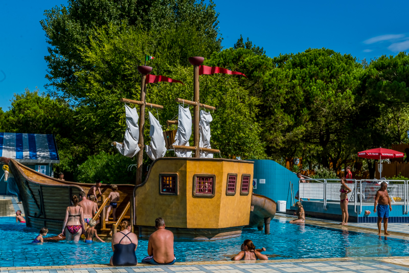 Pirate ship, Camping Ca Savio, Swimming Pool, Venice, Italy
