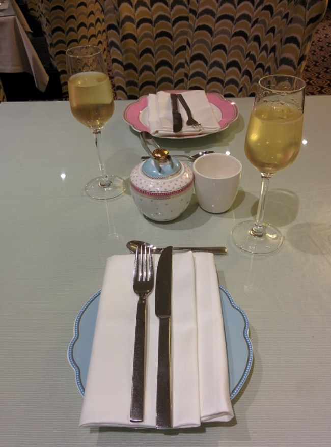 Champagne and china plates at St Ermins in London