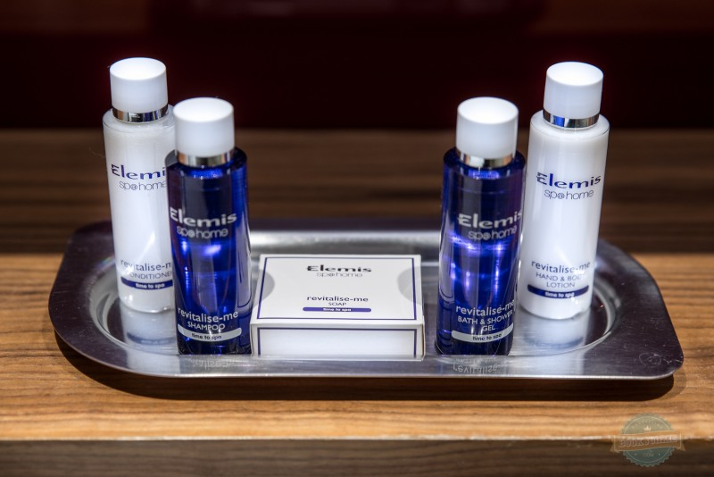 Bathroom Elemis products left at the Apex London wall hotel