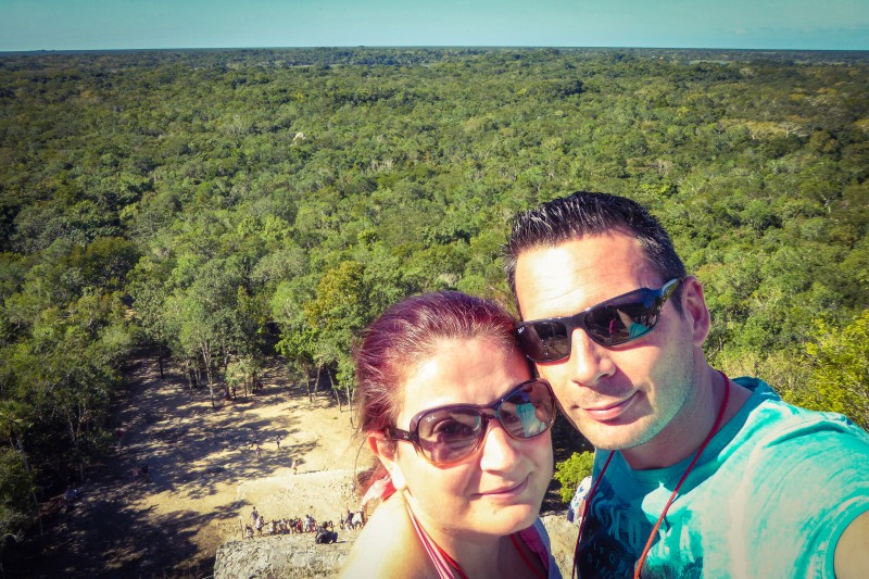Us on the top of Nohoch Mul in Coba Mexico