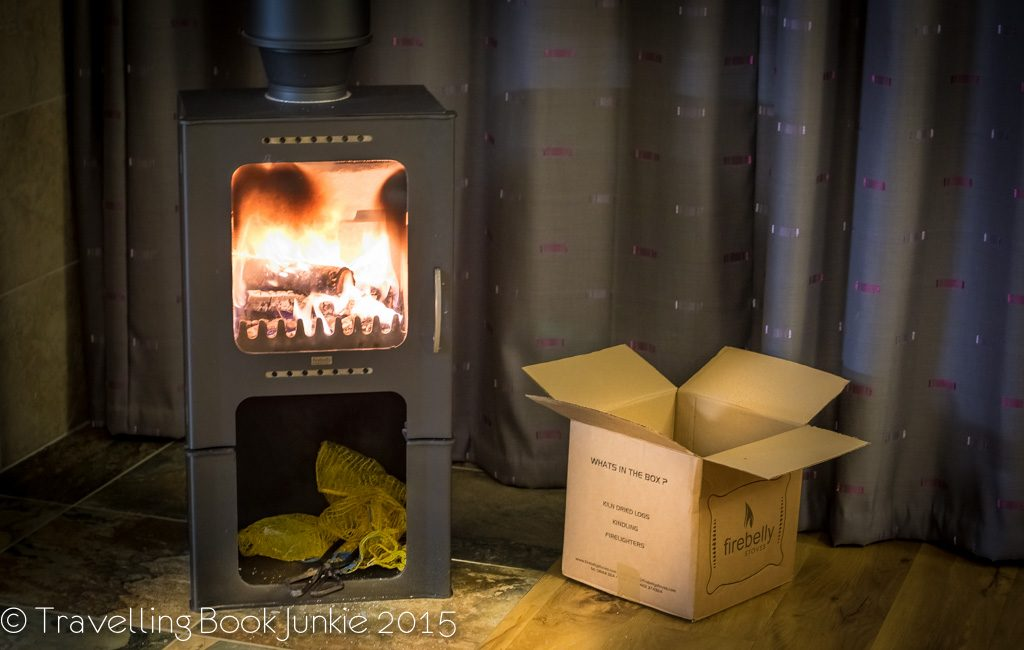 Log burning stove in the golden oak, thorpe forest, forest holidays, norfolk uk