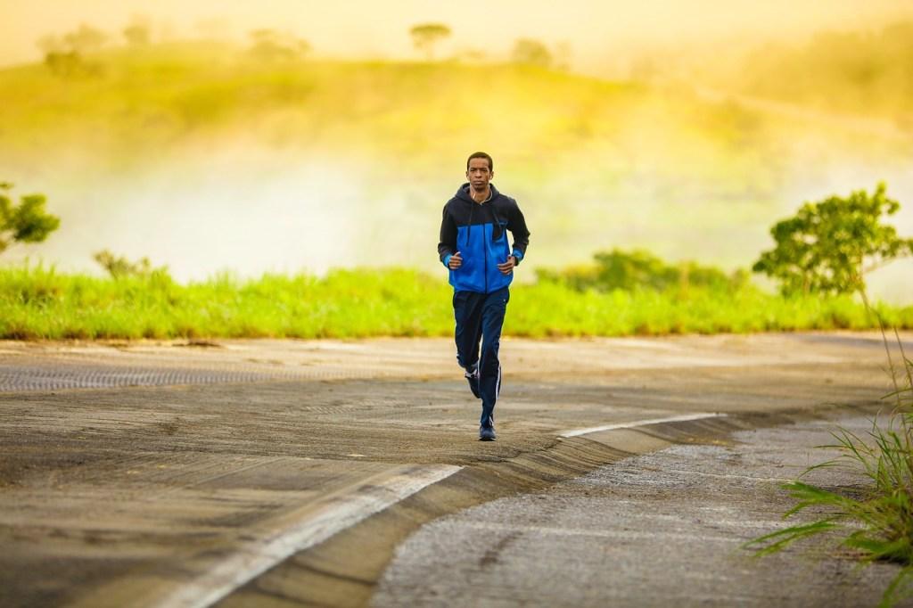 Kilimanjaro, man jogging, Africa, mountain, outdoor adventure, healthy living