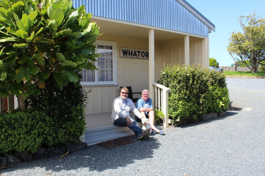 On the steps of our room at Waipoua Lodge