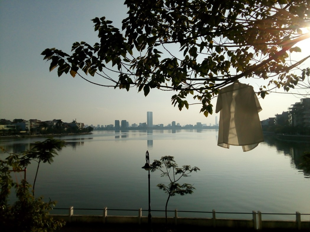View across West Lake, Hanoi at sunset
