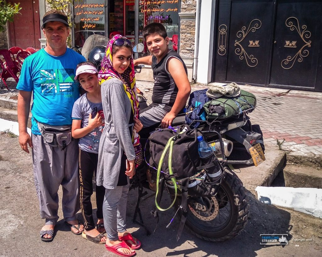 First stop in Iran and immediately I have someone that wants to know about my trip and my bike.