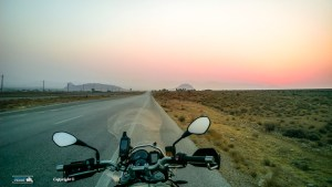 Dawn on the road to the Lut Desert in Iran