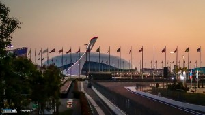 The Sochi Autodrome at sunset.