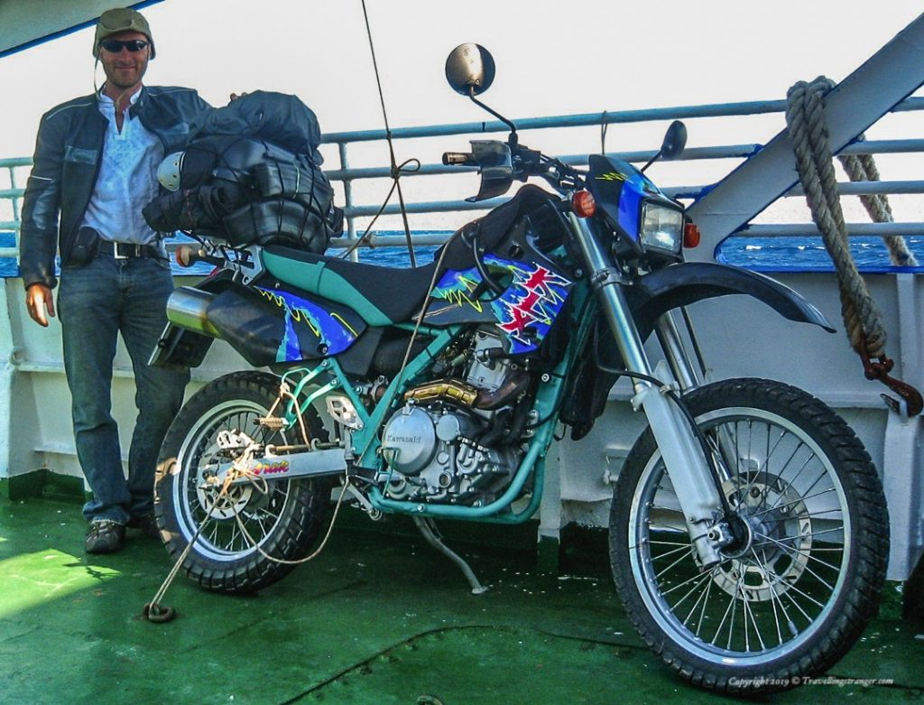 KLX 650 and owner on a ferry boat