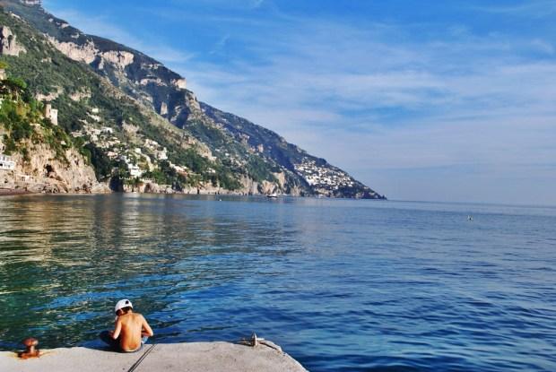 Boy fishing, Positano, Italy