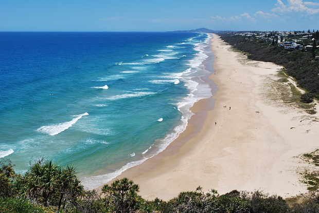 The endless sands of Sunshine Beach, as seen from the end of the Noosa National Park Coastal Trail