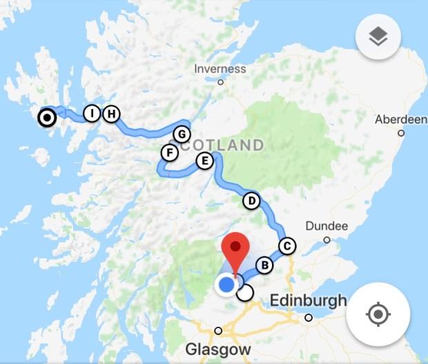 Scottish Road Trip Map Stirling to Skye