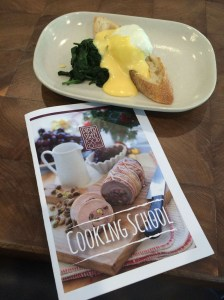 Poached eggs and hollandaise at the Piper St Food Co cooking school