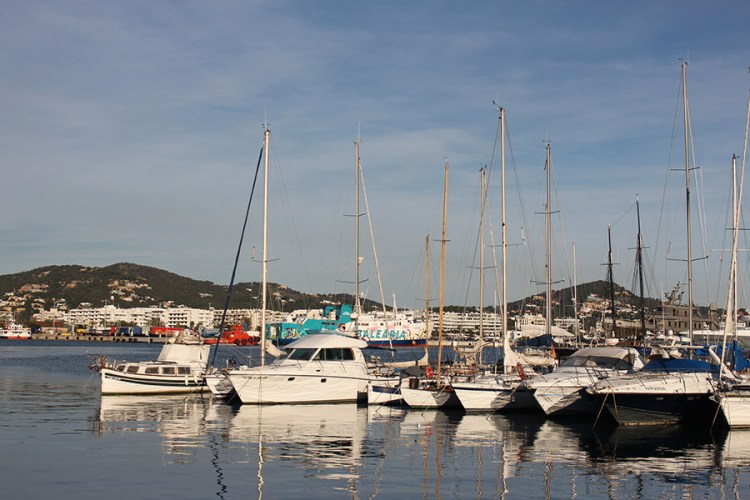 Winter views of the beautiful marina in Ibiza, average weather in Ibiza during December is fine and sunny