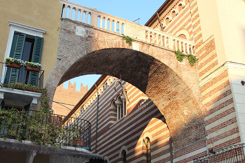 An old whale bone in the medieval city centre Verona setting for Rome and Juliet