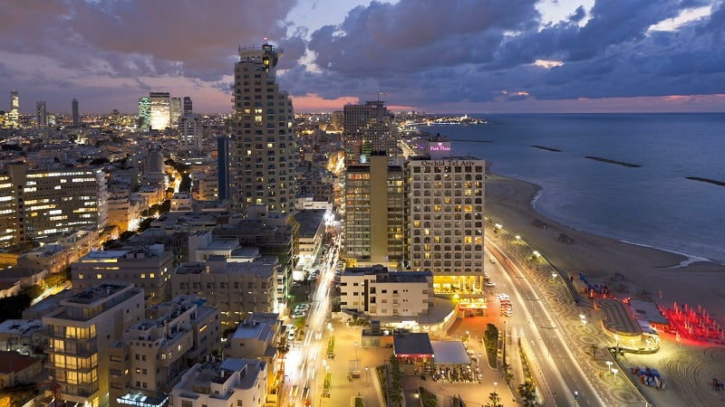 The beautiful coast line of Tel Aviv