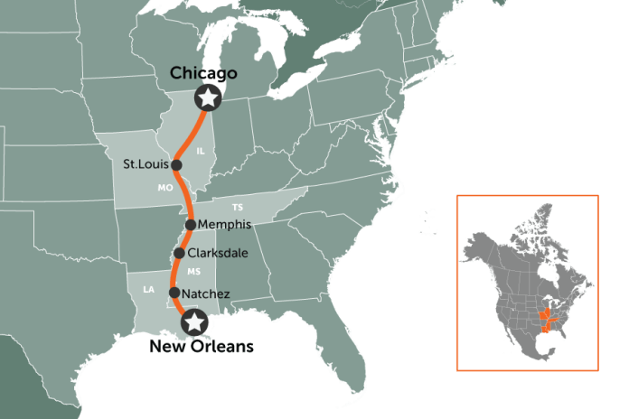Chicago to New Orleans | map