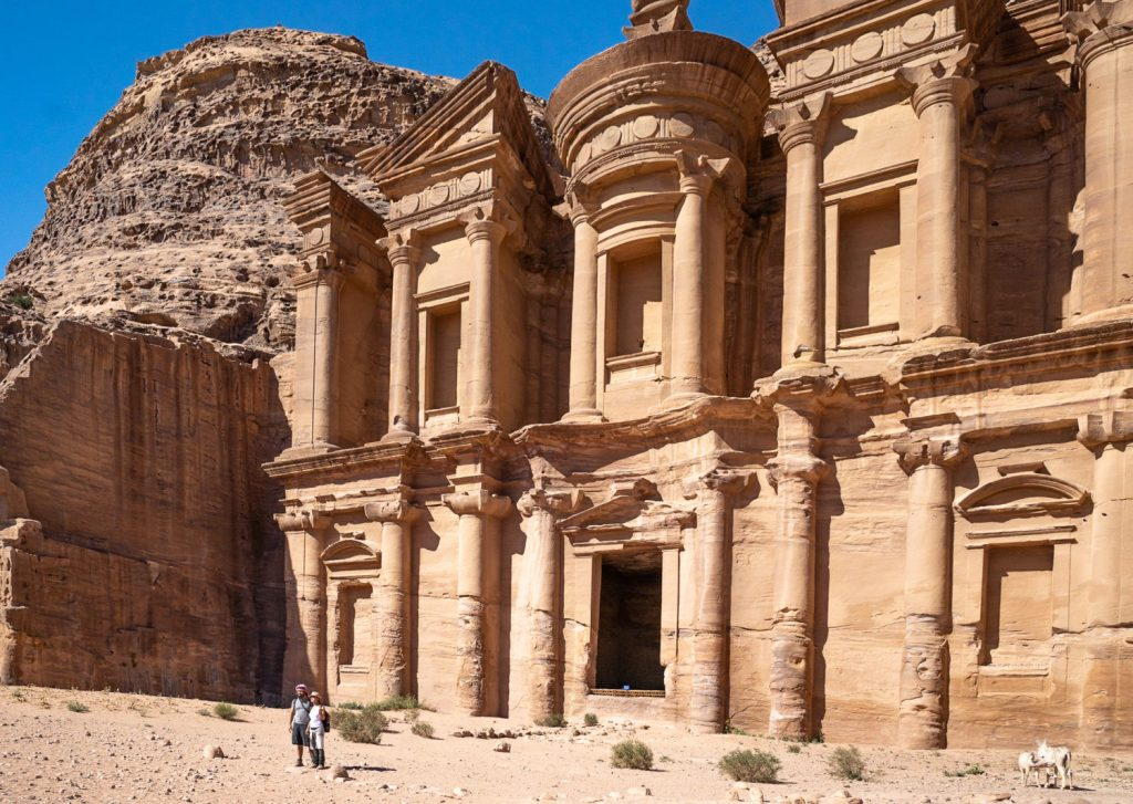 The legendary Monastery at Petra, built in the 3rd century BCE, 850 treacherous steps up by donkey, image by Marie Goff