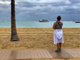 Enjoying the view at Waikiki Beach in Hawaii
