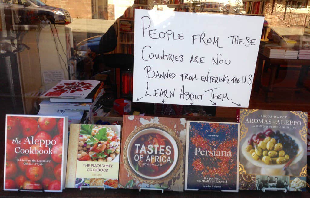 book display of cook books from Aleppo, Iraq, Africa, Persia.