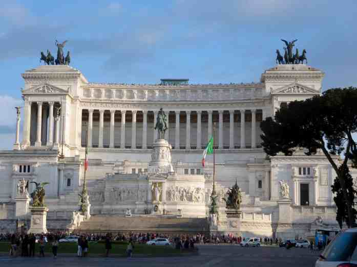 Napoleon white monument in Rome, Italy blue sky and sunny day