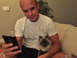 Trevor Kucheran and Louie Ragdoll Cat