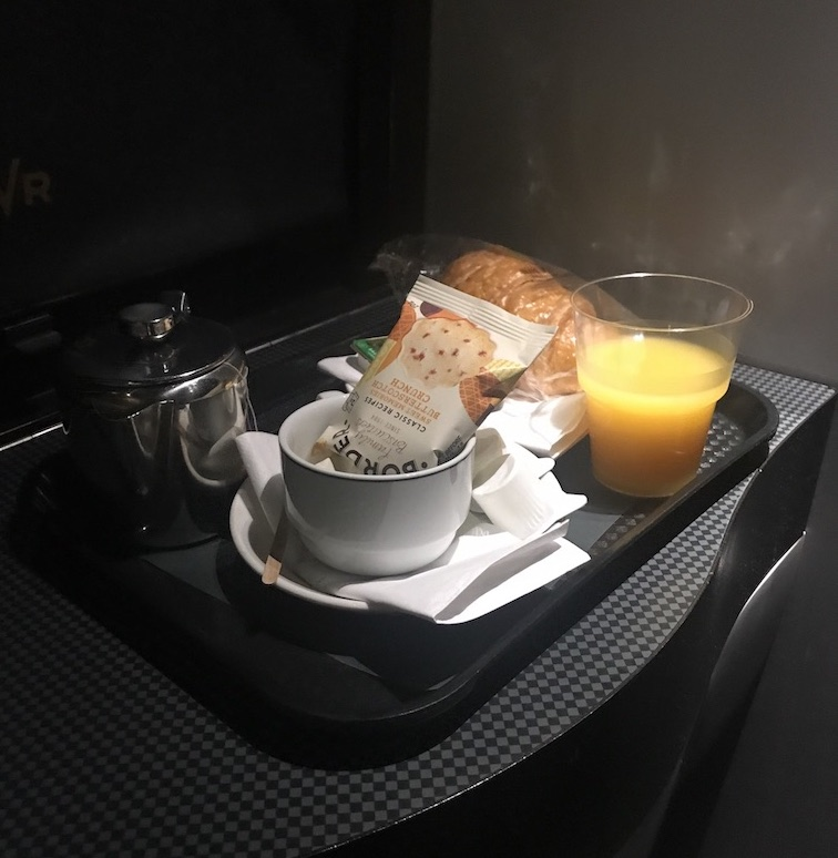 breakfast delivered to room on GWR sleeper train