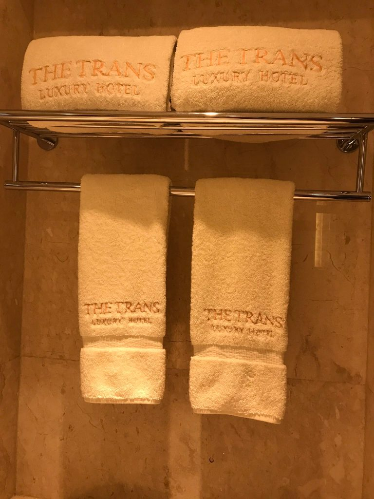 Hotel towels at the trans resort