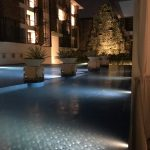 Night View of the main pool at The Trans