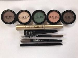 Travel makeup - Sephora single eyeshadow pots