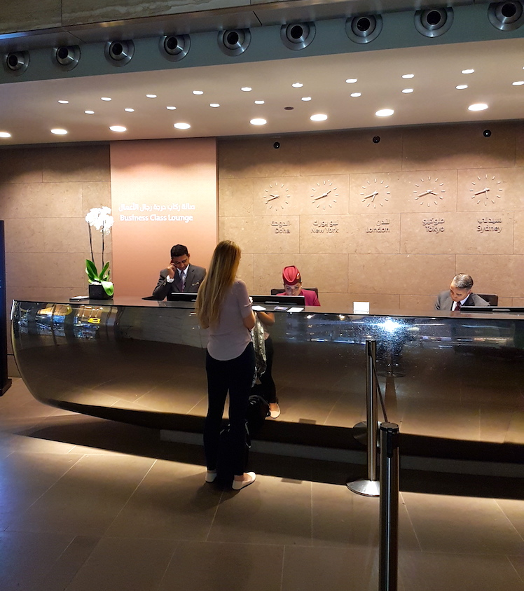 business class check in at the Doha airport