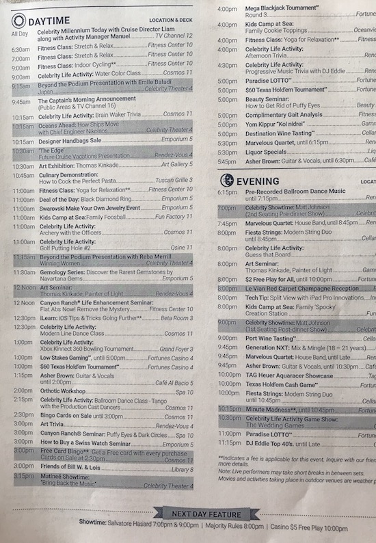 Enrichment on Cruise Ships - Daily schedule on Celebrity