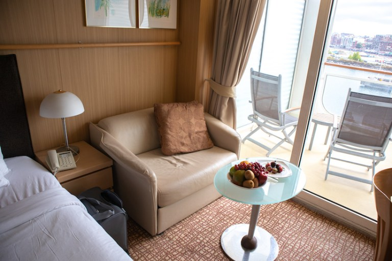 love seat couch on celebrity millennium veranda room