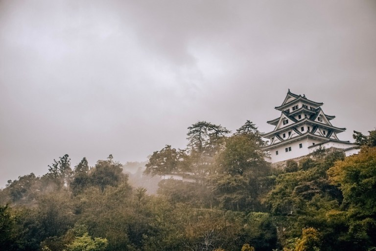 Gujo castle in fog