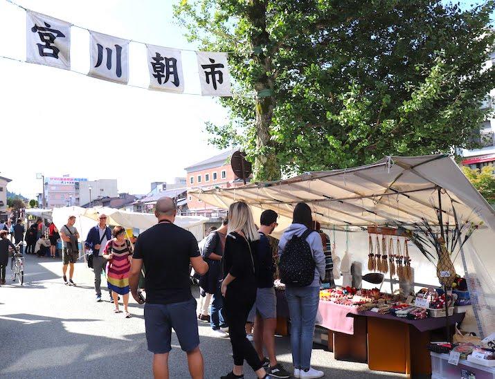 Miyagawa market in takayama gifu travel guide