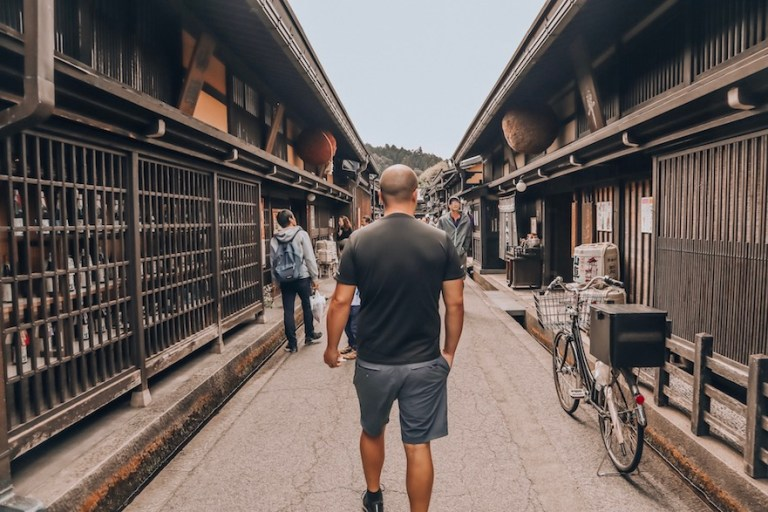 Trevor Kucheran in the old town streets of Takayama _ gifu travel guide