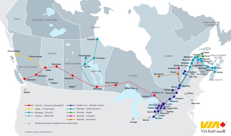 via rail train across canada routes and map