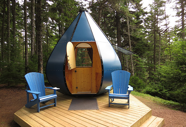 glamping in New Brunswick - rent The Oasis tear drop cabin in Fundy National Park