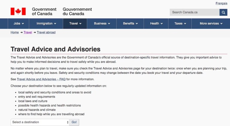 Canadian Travel Advice and Advisories