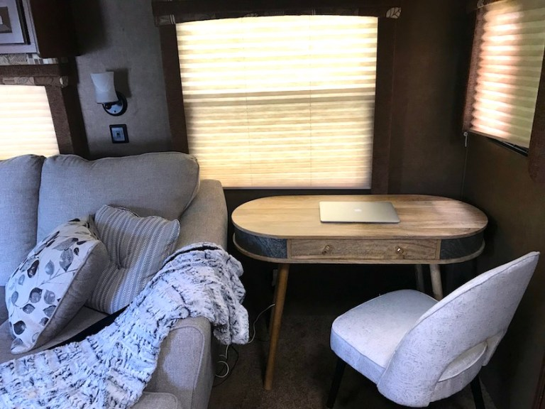 redecorated RV to add in an office space with desk