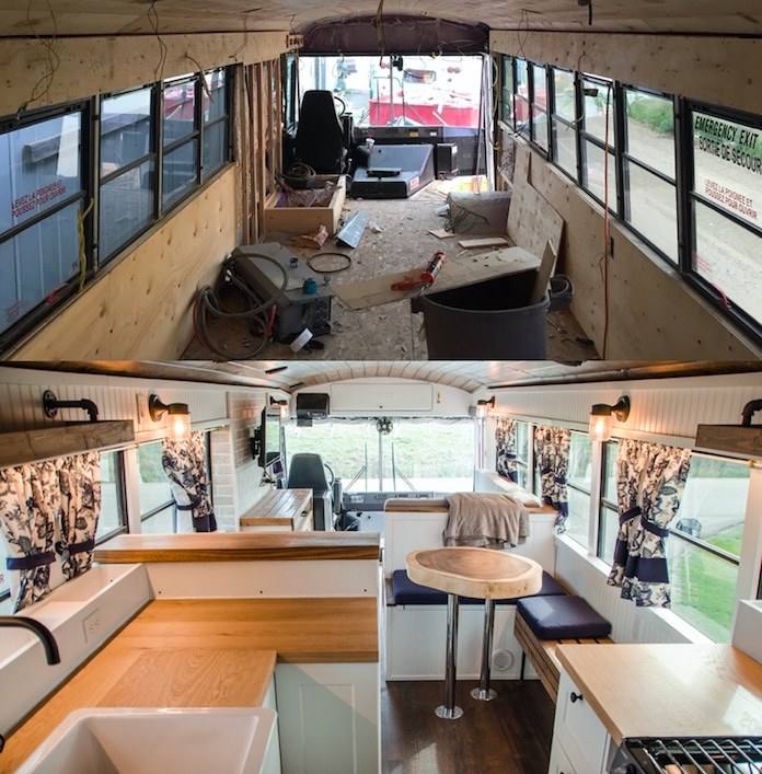 Before and after of a bus renovation into tiny home
