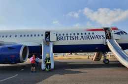 british airways plane fills with smoke