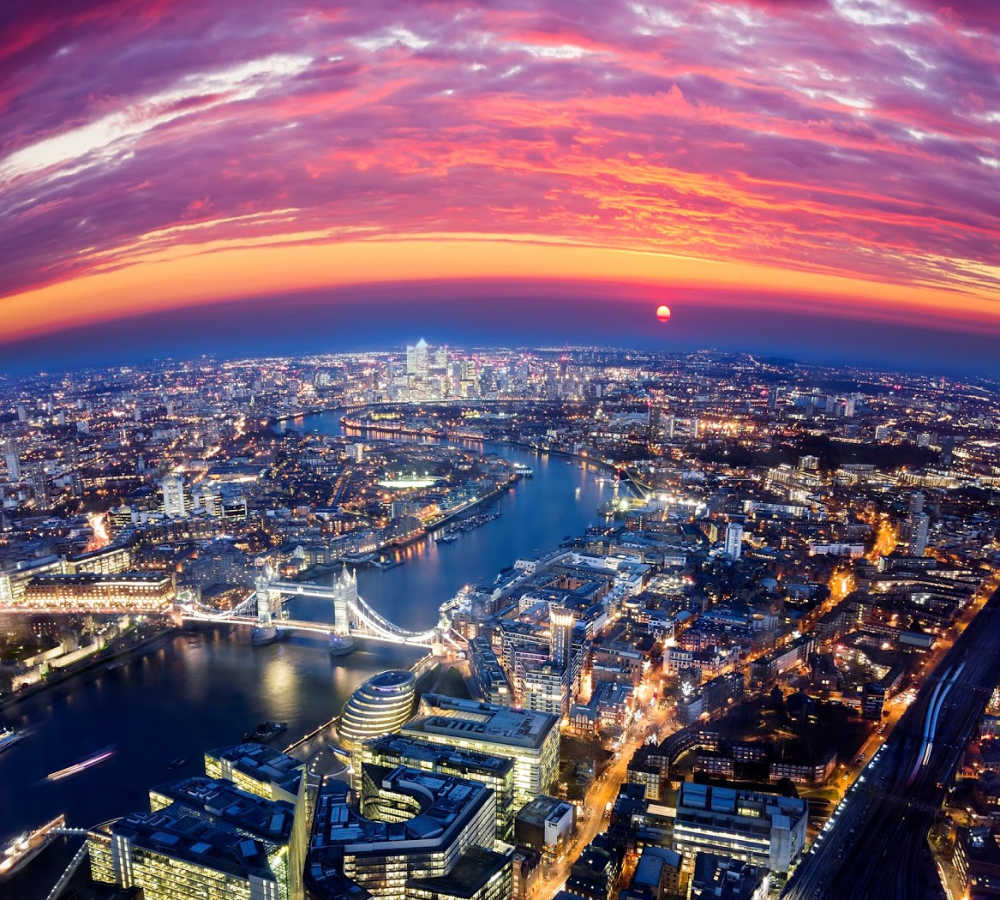 London UK skyline aerial view