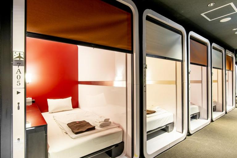 stay at first cabin capsule hotel in Kanazawa Japan