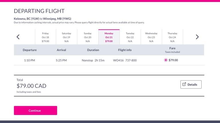 Booking flights on Swoop